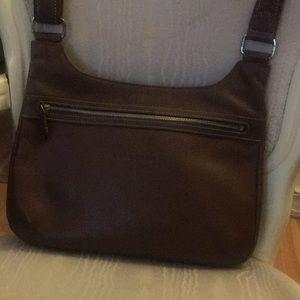 Longchamp brown leather crossbody bag